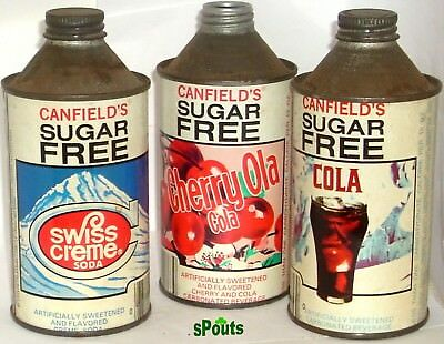 Canfield Diet Creme+Cherry+Cola Novelty Soda Pop Cone Top Cans Illinois-Missouri