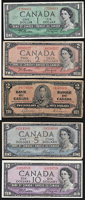 CANADA, PAPER MONEY – FIVE BANKNOTES: 1 to 10 DOLLARS