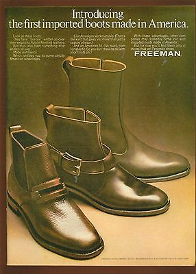 1969 Print Ad for Men's Ankle Boots by Freeman Shoe Company