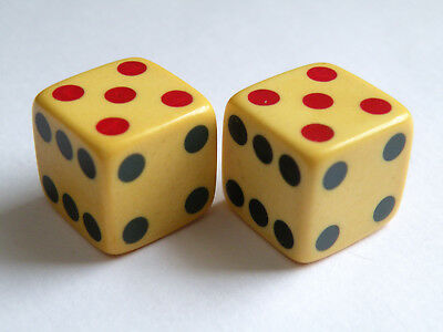 """Vintage pair of 2 Tri colored flush inlaid 5/8"""" collectible dice"""