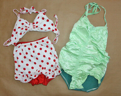 Two Vtg 40s Pin Up Girl Swimsuits Rayon & Satin Red White Polka Dot Green Ruched
