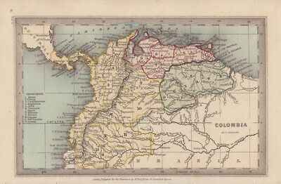 1834 Nice Early Starling Map of Colombia, Venezuela