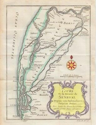 1748  Bellin Map of the Senegal River, Africa