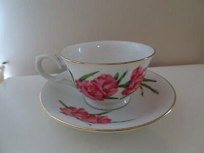 August Gladiola Avon Blossoms of the Month Series  Teacup & Saucer