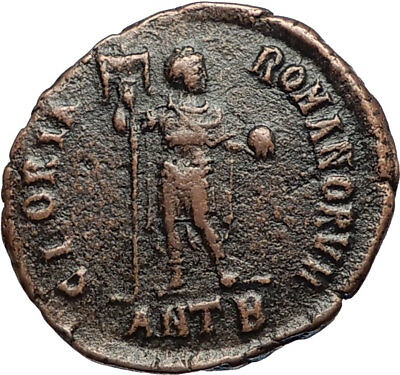 ARCADIUS w Legionary Standard Authentic Ancient Genuine 392AD Roman Coin i67422