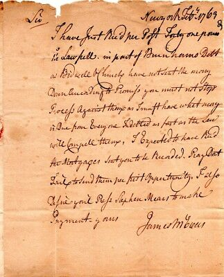 1769, New York, James McEvers, Stamp Act agent, letter to Col. Thomas Seymour