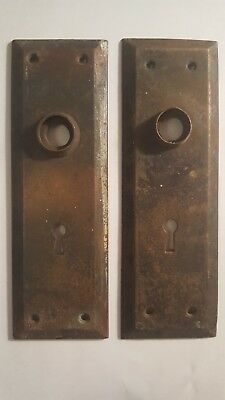 "Pair Metal Door Back Plates Antique Skeleton Key Holes 7"" tall and 2 1/2"" wide"