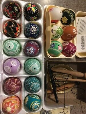 Ukranian Easter Eggs Lot 18 Hand Painted Real Egg Shells Tools And Instructions