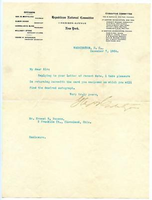 George B. Cortelyou Teddy Roosevelt Cabinet Member Sec Treasury Autograph Letter