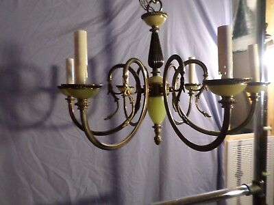 Antique Bronze And Onyx Ornate French 6 Candle Chandelier