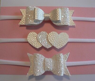 Set Of 3 Pearl White Newborn/Baby/Toddler/Girl Faux Leather/Glitter Headbands