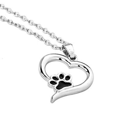 Vintage Silver Pet Lover Necklace Puppy Dog Cat Paw Print Pendant Heart Chain