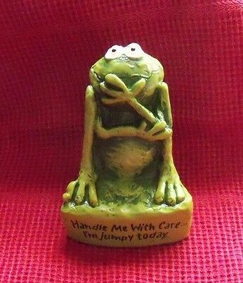 """Vintage 1977 Gibson Greeting Card FROG figurine """"I'm Jumpy Today"""" statuette"""