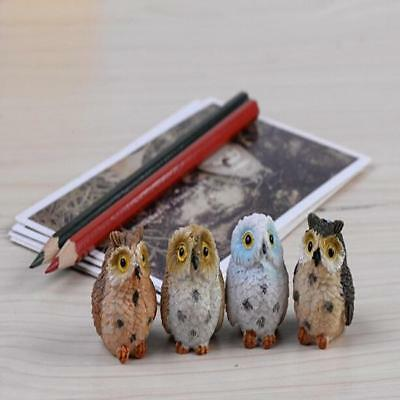 Cute Animal Resin Owls Miniatures Figurine Craft Bonsai Pots Home Garden 4pcs D
