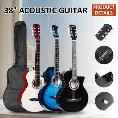Beginners Student 38 Inch Wooden Folk Acoustic Classic Guitar With Bag AU 2018