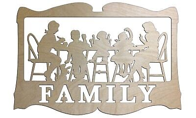 Unfinished Wood Family at dinner Family Sign 17.5 x 26 inch