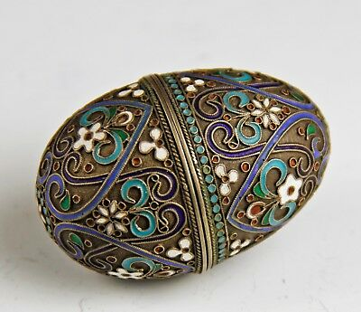 Nice Antique Russian Enameled Silver Egg Form Box