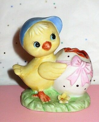 Vintage Easter Brinn's Duckling With Ribbon Egg Small Figurine