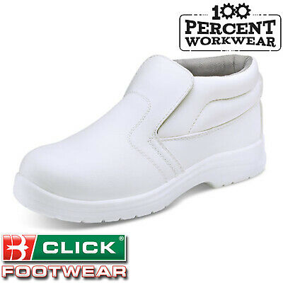 Click White Hygiene Micro Fibre Work Safety Boots Medical Catering Steel Toe Cap