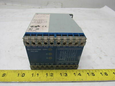 Schleicher D-13597 TYP SNO 200217 E-Stop Gate Barrier Safety Relay 24-230V 24VDC