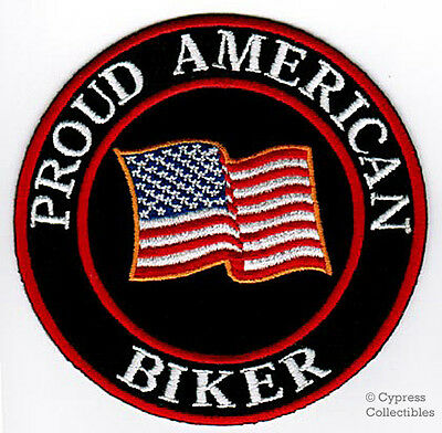 PROUD AMERICAN BIKER embroidered iron-on PATCH PATRIOTIC USA FLAG US applique
