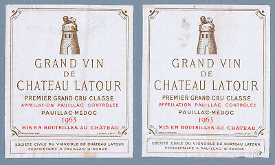 2 Vintage 1963 Grand Vin de Chateau Latour french Wine labels 2107