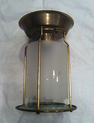 """Vtg Brass Etched Glass Shade Scalloped Edge 7 1/4"""" Tall Flushmount Ceiling Light"""