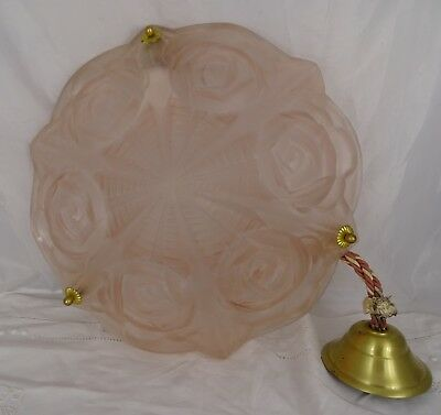 Vintage French Art Deco Pink Glass Chandelier-Ceiling Lamp Signed Degue Roses