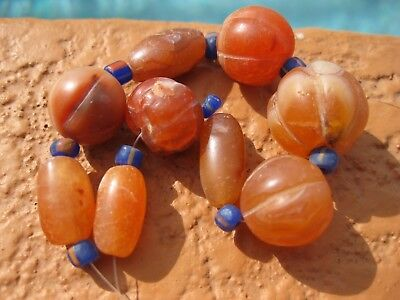 Old Carnelian Agate Beads 9 Melon & Smooth Afghanistan 19x18mm - 15x10mm 39G