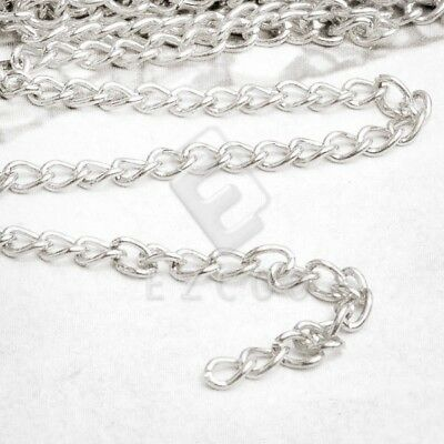 4m Unfinished Bulk Chains Necklace Wholesale Silver Curb Chain 0.8x3x4mm YB