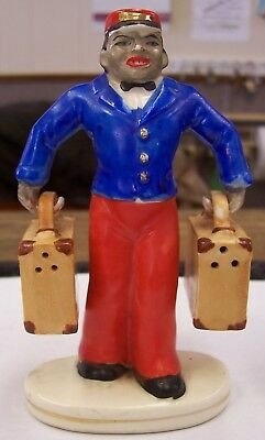 Japan Black Bell Boy With Luggage Salt and Pepper Shakers