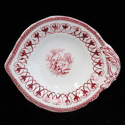 Staffordshire Childs Toy Relish Tray 1850 FISHERS Fishing Red Cow Transferware