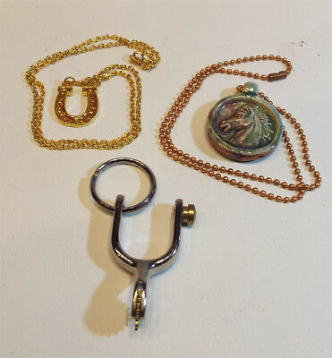 Lot of 3 Horse Related Items, 2 Necklaces, 1 Keychain