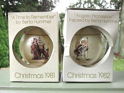 HUMMEL SCHMID CHRISTMAS ORNAMENT LOT OF 2 Vintage 1981 and 1982 NEW IN BOX