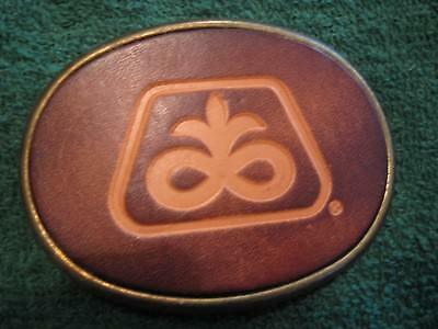Pioneer Belt Buckle Leather Front Seed Corn Seed Beans
