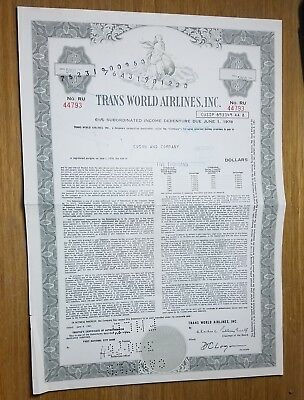 1961 Trans World Airlines (TWA) Bond Stock Certificate