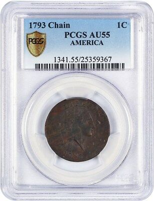 1793 Chain 1c PCGS AU55 (AMERICA) Desirable Large Cent - Large Cent