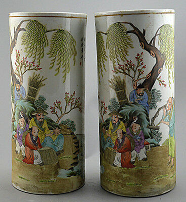 JR Porcelain the tub - shaped hat container vase painted ancient Chinese figures