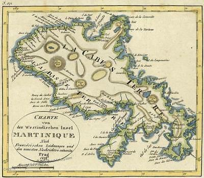 Martinique Copperplate 1822 Antique Map 36400