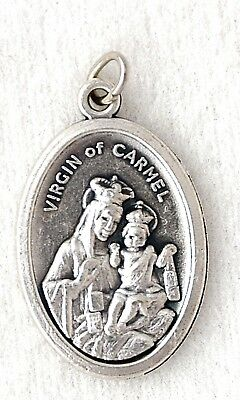 OUR LADY OF MOUNT CARMEL Catholic Patron Saint Medal charm oxidized nickel NEW