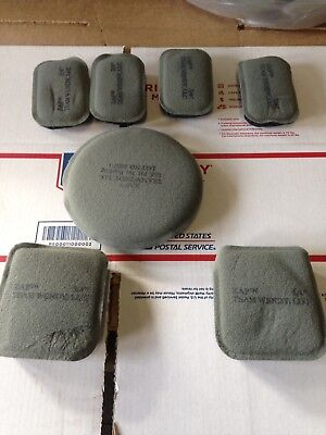 "USGI Ach Zap Team Helmet Pad Set 7-Piece 3/4"" Foliage Green & Black New Oldstock"