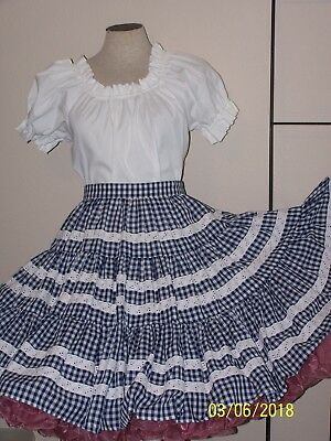 Navy blue & white  western rodeo square dance tier skirt blouse