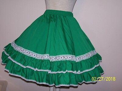 Green  western rodeo square dance skirt  Lge