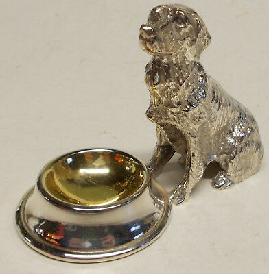Dog by Bowl Figural Open Salt - Silverplate celler dish - retriever labrador