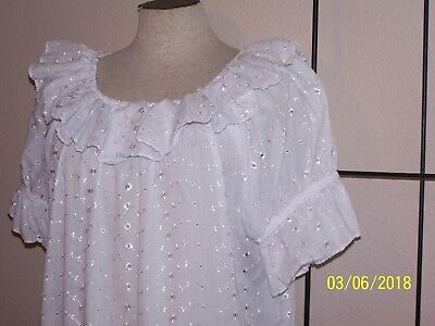 White eyelet western rodeo square dance blouse  Lge