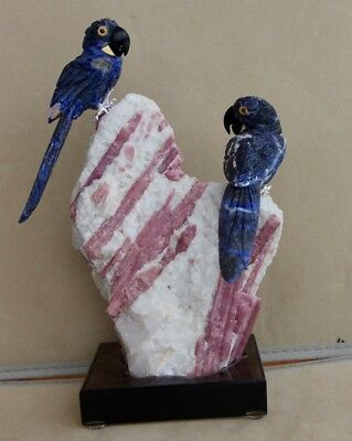 """Hyacinth Macaw Pair on Toumaline in Albite 10"""""""