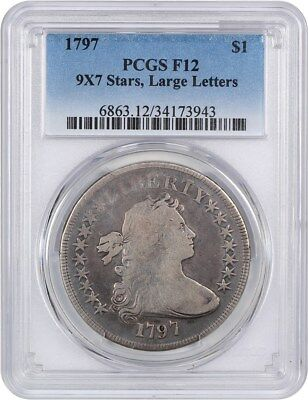 1797 $1 PCGS F12 (9x7 Stars, Large Letters) Popular Type Coin