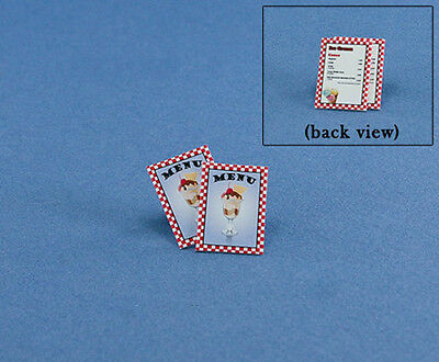 FABULOUS Set of 2 Dollhouse Miniature Ice Cream Shop Menus 1:12 Scale #HCX120