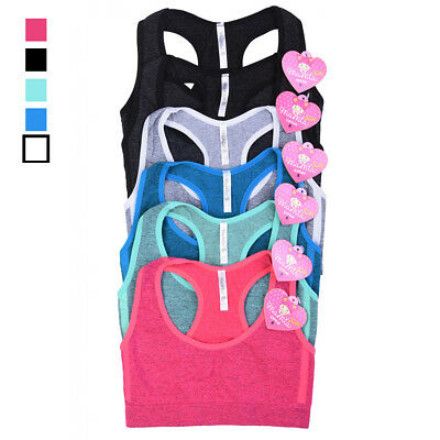 6 Girl Seamless Sports Bra Crop Top Training Juniors Underwear Racerback Stretch
