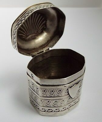 Beautiful Rare Early Dated Dutch Antique 1843 Solid Silver Snuff Peppermint Box